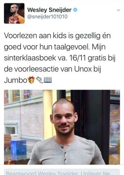 Sinterklaasprentenboeken Tweet Wesley Sneijder